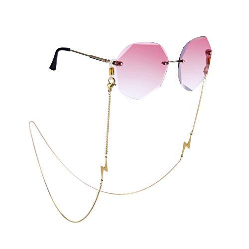 Amaxer Cadena de soporte para gafas con colgante de cordón de sol, correa para gafas de lectura, cadena de caja de acero inoxidable para mujeres y hombres Largo dorado