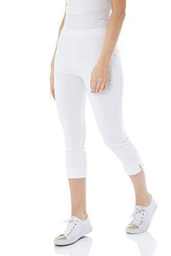 Roman Originals Pantalón Capri elástico de bengalina para Mujer - Pantalón de Corte cónico Estilo años 50, Malla para Verano, Opaca, cómoda y elástica - White - 38