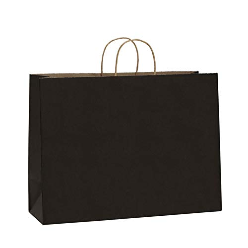 BagDream 100Pcs 16x6x12 Inches Kraft Paper Bags with Handles Bulk Gift Bags Shopping Bags for Grocery, Mechandise, Party, 100% Recyclable Large Black Paper Bags