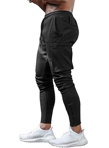 Yidarton Hose Herren Jogginghose Trainingshose Sporthose Fitness Slim Fit Sweatpants Freizeithose Jogger Männer Pants (Schwarz, Small)