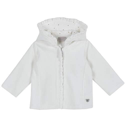 Chicco Cardigan mit Kapuze für Neugeborene, Kapuze mit Punkten, innen mit Reißverschluss, Farbe bisnco, Kollektion Herbst und Winter, Weiß 6 Monate