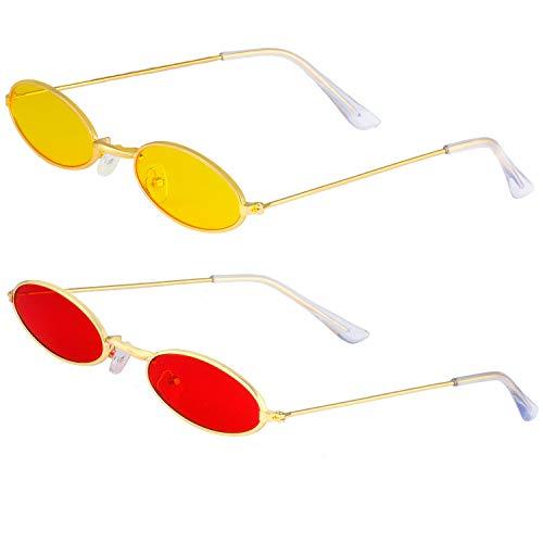 Haichen Vintage kleine ovale Sonnenbrille für Frauen Männer Retro Hippie Brille Metallrahmen Bonbonfarben (Gelb + Rot)