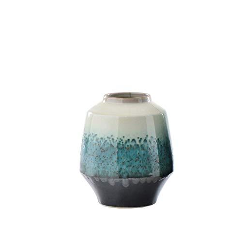 HLL Florero Decoración de jarrón chino Nuevo estilo chino Sala de estar Arreglo de flores secas Mesa de cerámica Porche Gabinete de vino Zen Decoración del hogar Artesanía,Medio,Medio