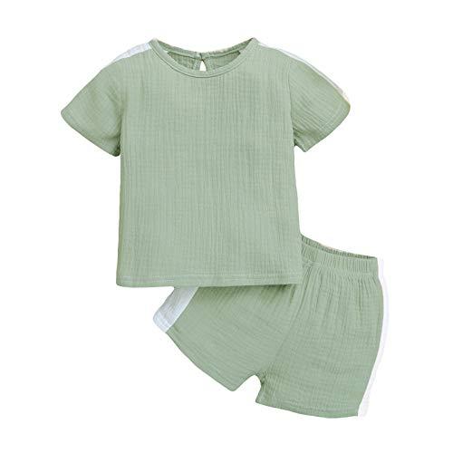 Julhold Bebé Manga Corta Sólida Tops+Pantalones Cortos Pijamas Ropa de Dormir Trajes de Niño Niños Niñas Ropa