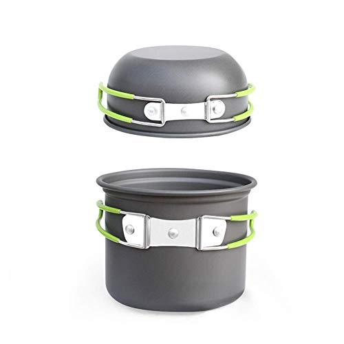 1yess Töpfe Set Mini Camping Bowl Set Outdoor-Kochgeschirr Pan Pot for Picknick Grill Backpacking Wandern Camping (Color : Green)