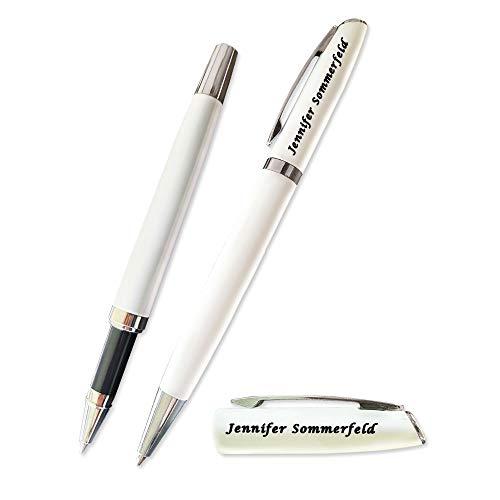 Juwelier Schönschmied - Schreibset mit Gravur & Wunschsymbolen, Stift mit Gravur, Inklusive Geschenk-Etui, Drehkugelschreiber & Rollerball (schwarzschreibend) PS1