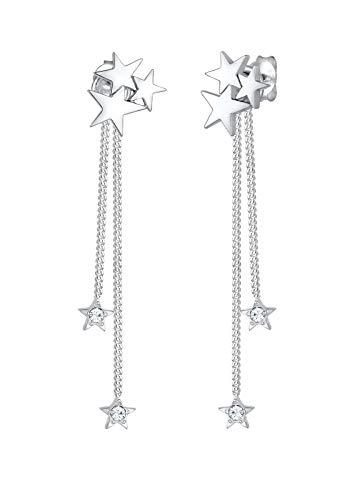 Elli Premium 0301651617 - Pendientes de plata 925 rodiada con cristales Swarovski blancos facetados (0 cm)