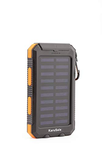 Solar Power Bank Portable Charger 50000mah Battery Pack 2 LED 2 USB Camping Solar Panels Waterproof Car Travel Outdoor External Backup Flashlight for All Cell Phones and Tablets Black & Orange