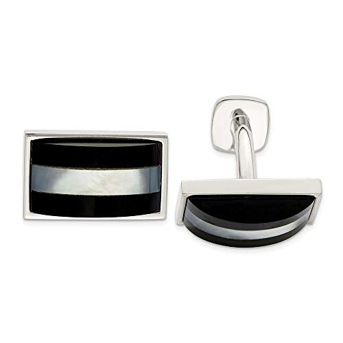 925 Sterling Silver Mother Of Pearl Black Onyx Cufflinks Man Cuff Link Fine Jewelry For Dad Mens Gifts For Him