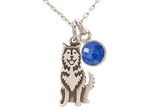 Gemshine Halskette Siberian Husky - Alaskan Malamute Schlitten Hund mit Saphir Anhänger. 925 Silber, vergoldet, rose. Haustier, Herrchen, Frauchen, Made in Spain, Metall Farbe:Silber