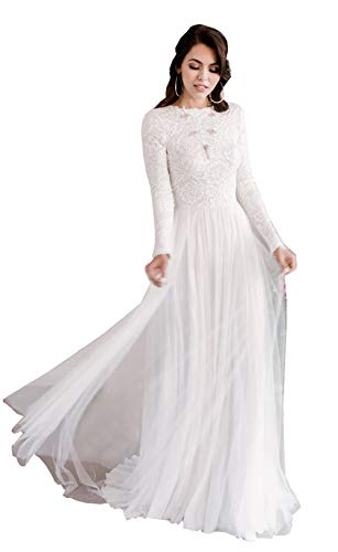 Women's Lace Bodice Wedding Dress with Long Sleeves A-Line Open Back Bridal Gown Size 10 White