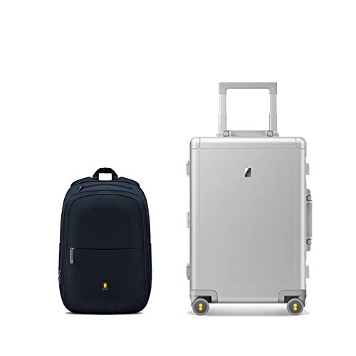 LEVEL8 Aluminum Carryon Luggage 20 inch Suitcases with Laptop Backpack (Silver)