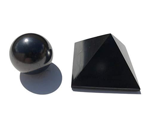Pirámide de shungita, 5 x 5 cm + 3 cm, bolas de shungite, pirámide de de piedras preciosas