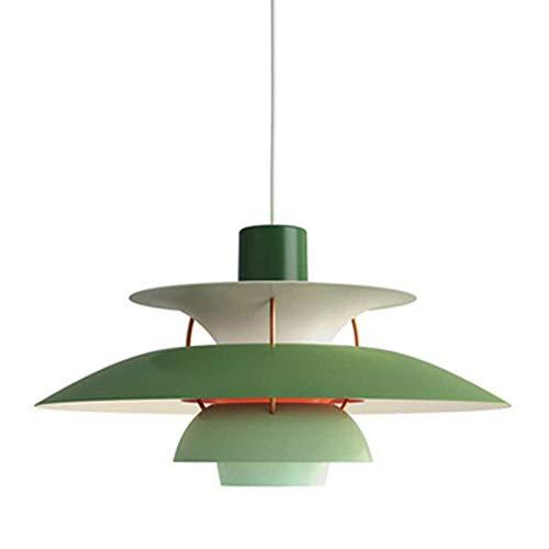 Colgante de luz verde pantalla de aluminio de lampara comedor de vendimia E27 creatividad disenador lamparas de altura ajustable para colgar luces de mesa comedor dormitorio sala de estar, φ40CM