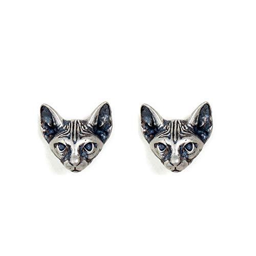 Pendientes de plata esterlina S925 mini gato cruz anti alergia nuevo creativo pendientes de diseño de moda joyería para hombres y mujeres estilo punk