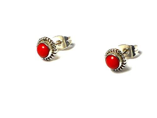 Pendientes de coral de plata redondo con forma de Ear studs 925–(cst1408152)