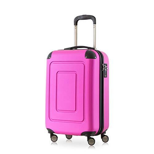 Happy Trolley - Lugano Handgepäck Kabinentrolley Bordgepäck Hartschalen-Koffer Trolley Reisekoffer, sehr leicht, TSA, 55 cm, 40L, Pink