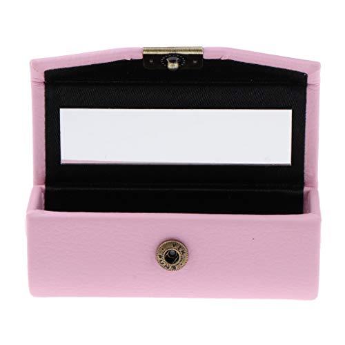 MagiDeal Mädchen Geschenk, Leder Lippenstift Etui Organizer Tasche Für Geldbörse 10 Farben Lippenstifthalter Strapazierfähiges, Weiches Leder Kosmetik - Rosa