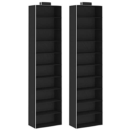SHUJUNKAIN Organizadores de Armario Colgantes 2 uds con 10 estantes Tela Negro y Blanco