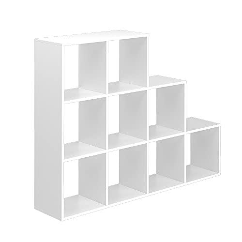 Vicco Treppenregal Raumteiler Bücherregal 9 Fächer weiß Stufenregal Stufenregal
