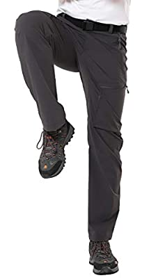 MIER Men's Stretch Cargo Pants Lightweight Nylon Hiking Pants, Quick Dry and Water Resistant, 5 Zipper Pockets, Graphite Grey, XXL