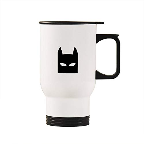 Travel Mug Cup with Lid 14 OZ Stainless Steel Car Cup Insulated Vacuum Tumbler Batman white Coffee Cups Mug for Home, Office, Work, Travel
