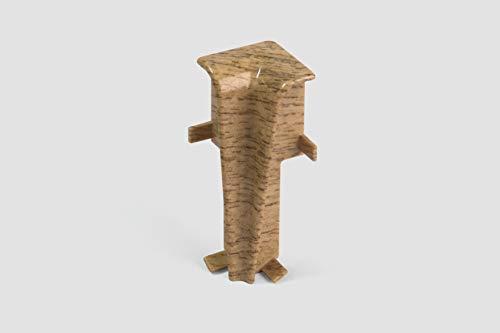 EGGER Innenecke Sockelleiste Eiche natur für einfache Montage von 60mm Laminat Fußleisten | Inhalt 2 Stück | Kunststoff robust | Holz Optik braun