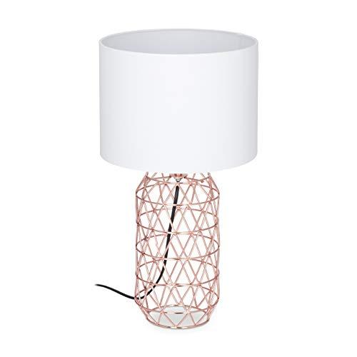 Relaxdays, weiß/rose-gold Tischlampe Gitter, runder Lampenschirm, Metallfuß, E27, Nachttischlampe, H x D: 45 x 25 cm