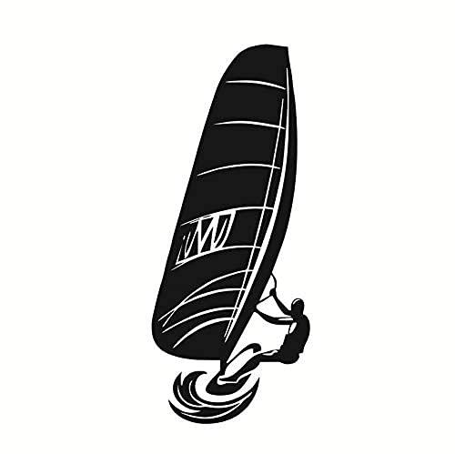 Deportes Acuáticos Pared Calcomanía De Vinilo Pegatina Jugador De Windsurf Cabecera Del Dormitorio De Los Niños Pegatina De Pared Impermeable 25X59 Cm