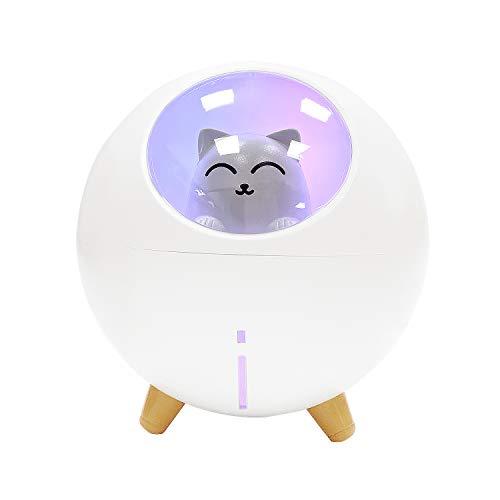 Humidificador Mini - Wisdom1674 Ultrasónico Humidificador de Niebla Difusor de USB, Humidificadors Silencioso Lindo con Luz de la Atmósfera LED para Hogar, Dormitorio, Oficina (Blanco)