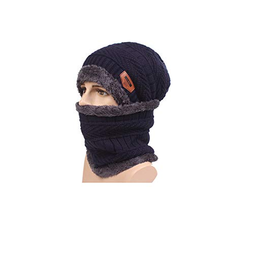 Reooly Conjunto de Bufanda de Gorro de Invierno de 2 Piezas Conjunto de Gorro de Punto cálido Gorro de Punto Grueso para Hombres Mujeres
