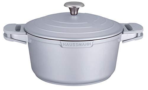 Haussmann Héritage® Faitout/cocotte(Gris) 24cm Fonte d'aluminium Revêtement façon Pierre- sans PFOA- Manche Amovible-Tous Feux Dont Induction- HM-2024G