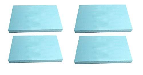 mmasport Espuma de goma para relleno de espuma para cojines de sofás, sillas, palés de jardín, protección de embalaje, modelismo, densidad 30 kg/m3 (40 x 30 x 1 cm, 4 unidades), color azul