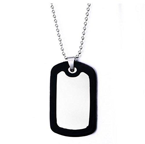 """GuDeKe Acero Inoxidable Hombres Estilo Ejército Militar Placa de Identidad Dog Tag Collar Pendiente 27,6""""Cadena"""