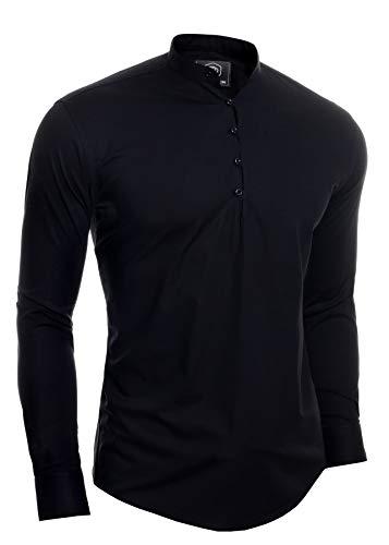 D&R – Camisa de manga larga para hombre, diseño de Henley, Negro, X-Large