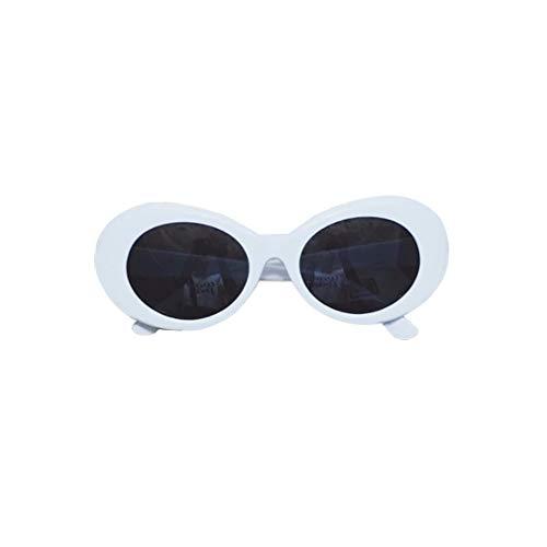 Nrew Gafas de Sol de Montura Gruesa ovaladas Retro atrevidas con Lentes Redondas de 51 mm Blanco-Gris