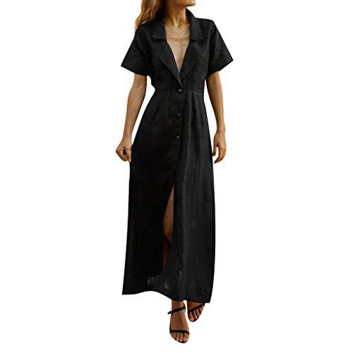 Sonojie Frauen V-Ausschnitt Schlank Sommer Baumwolle Revers Botton Temperament Lazy Beach Maxi-Kleid