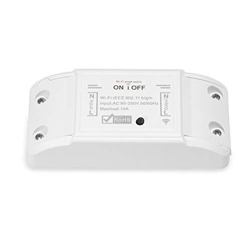 Tuya WiFi Smart Switch 10A / 2200W, 90-250V AC Interruptor remoto inalámbrico Temporizador Smart Life/Tuya APP Control Smart Home, Compatible con Alexa Google Home, No requiere Hub