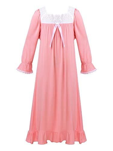 inlzdz Mädchen Prinzessin Nachthemd Baumwolle Kinder Altmodisches Schlafanzug Langarm/Kurzarm Nachthemden Nachtwäsche Pyjama Kleid Rosa Langarm 98-104