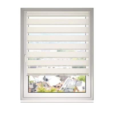 DESWIN Doppelrollo Klemmfix, Duo Rollos ohne Bohren für Fenster & türen 35 x 160 cm Crème - White(KlemmFix Duorollo mit Kettenzug, Haltern Zum Schrauben)