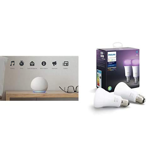 Brownie - White + Philips 2x BLE Color Bulb - E27