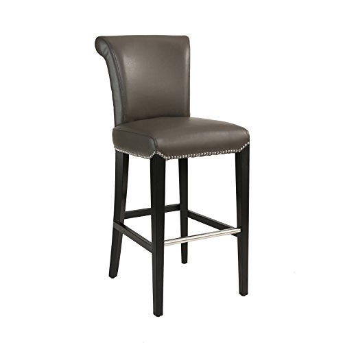 Abbyson Living Faux Leather Upholstered Bar Height Barstool and Dining Stool with Silver Nailhead Trim and Metal Footstep, Grey