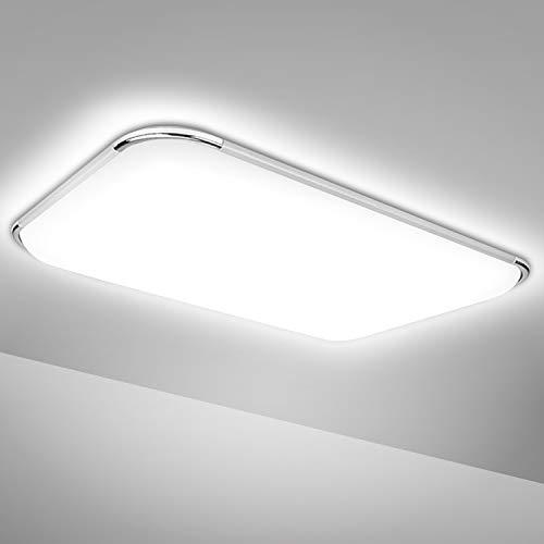 Hengda LED Deckenleuchte, 48W Deckenlampe 4080LM, Flimmerfreie, IP44 Wasserfest Wohnzimmer Lampe für Schlafzimmer Küche Kinderzimmer Bad, Bürodeckenleuchte, 6500K Kaltweiß