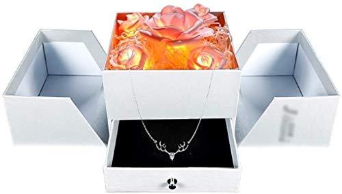 1yess Dekorative Box Schmuck armoire Kreative Rosen-Geburtstags-Geschenk-Kasten-Blumen-Kasten-Halsketten-Ring Box mit LED-Licht Big Schmuck-Box Schmuck-Box 8bayfa