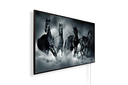 Könighaus Fern Infrarotheizung – Bildheizung in HD mit TÜV/GS - 200+ Bilder - Mit Thermostat - 7 Tages-Programm - 600 Watt -088. Pferde 4 Black Edition