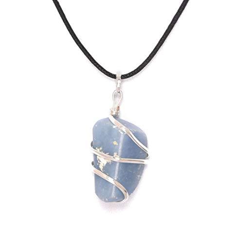 Blessfull Healing Reiki Espiritual Fe Curación Gemstone Energía Angelite Stone Wire Wrap Tamble Collar Colgante