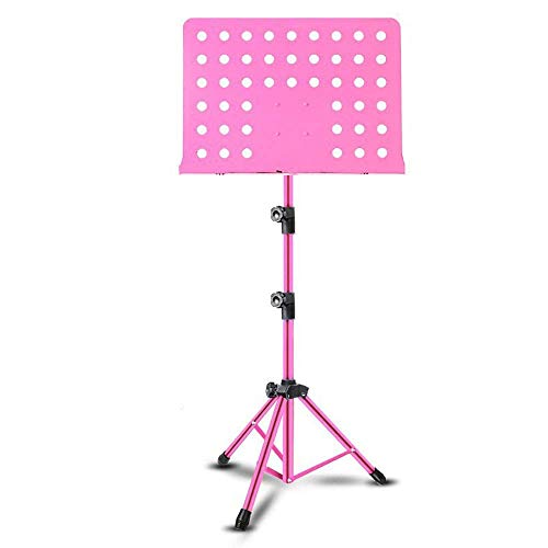 FGDSA Music Stand With Music Sheet Clip Holder Suitable Sheet Music Stand Tripod Base Height Angle Adjustable Orchestral Conductor Metal Sheet Stand Laptop Stand (Color : Black, Size : 42x135cm)