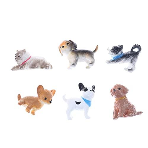 PPuujia Miniaturmodell für Puppenhaus, Miniaturmodell Katze und Hund, Puppenhaus, Zubehör, Geschenk, 6 Stück