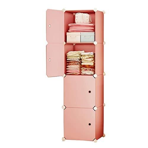 Armario Sencillez 4 Capas Almacenamiento Extraíble De Plástico Alquiler Estantes De Ropa del Dormitorio Principal Habitación Compartida De Rosa MXJ61 (Size : 39X37X147CM)
