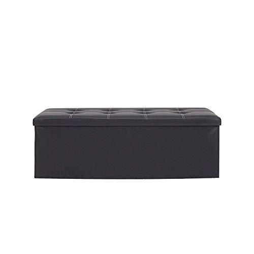 Rebecca Mobili Puffe plagable, pouf contenedor negro, puff baúl con tapa, forrado en cuero sintético - Medidas: 38 x 110 x 38 cm ( AxANxF) - Art. RE4908